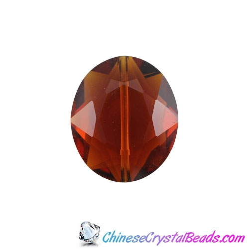 Chinese Crystal Faceted Oval pendant, Smokey Topaz, 20x24mm, 1 Beads