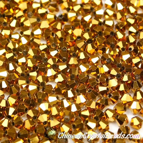 720pcs Chinese Crystal 4mm Bicone Beads,Gold, AAA quality
