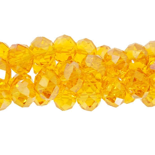 Chinese Crystal Rondelle Strand, 8x10mm, Sun, 25 beads