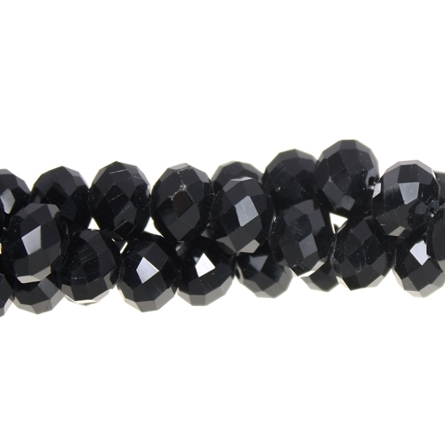 36Pcs 8x10mm Chinese Crystal Rondelle Bead Strand, black