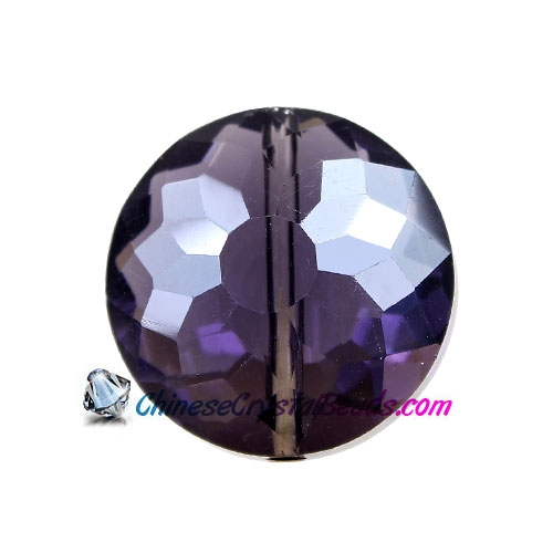 Chinese crystal round sunflower pendant, Violet , 11x18x18mm, PKG 10 pendant