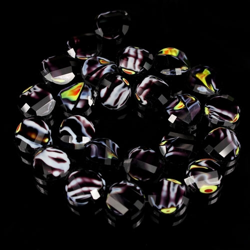 Millefiori Twist faceted Beads Black/yellow 14mm, 10 beads