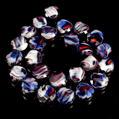 Millefiori Twist faceted Beads white/blue/brown, 14mm, 10 beads