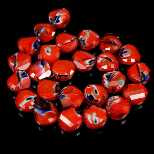 Millefiori Twist faceted Beads red/blue 14mm, 10 beads