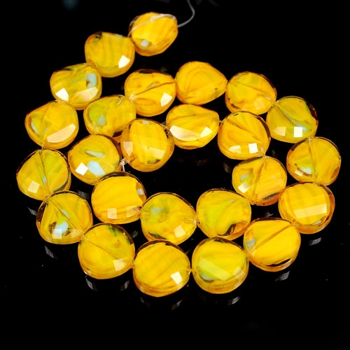 Millefiori Twist faceted Beads yellow 14mm, 10 beads