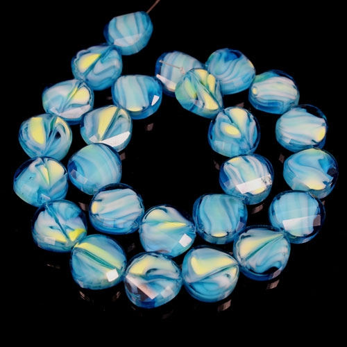 Millefiori Twist faceted Beads Aqua/yellow 14mm, 10 beads