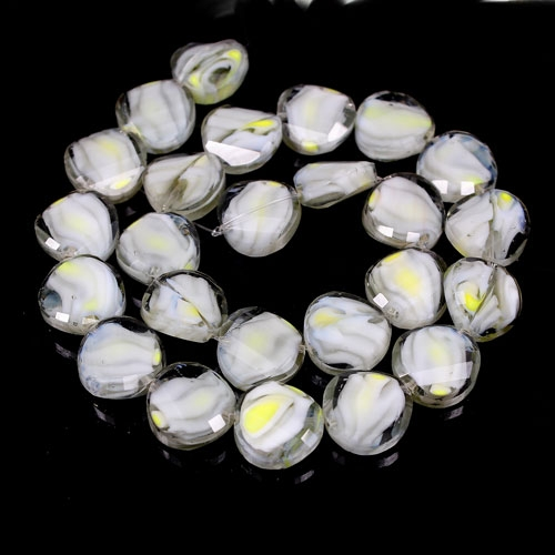 Millefiori Twist faceted Beads gray/white/yellow 14mm, 10 beads