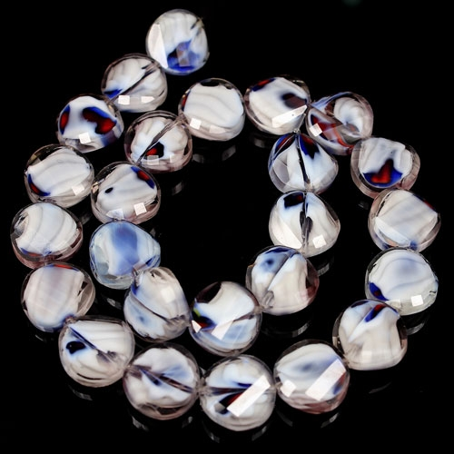 Millefiori Twist faceted Beads white/blue/red 14mm, 10 beads