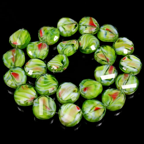 Millefiori Twist faceted Beads olivine/red 14mm, 10 beads
