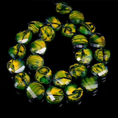 Millefiori Twist faceted Beads green/yellow 14mm, 10 beads