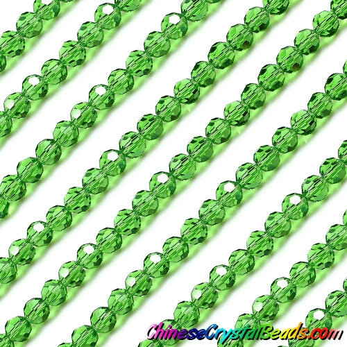 Chinese Crystal Faceted Round Bead Strand, fern green, 6mm, about 50 beads
