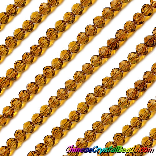 Chinese Crystal Faceted Round Bead Strand, Amber, 6mm, about 50 beads