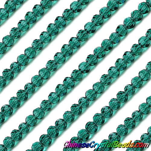 Chinese Crystal Faceted Round Bead Strand, Emerald, 6mm, about 50 beads
