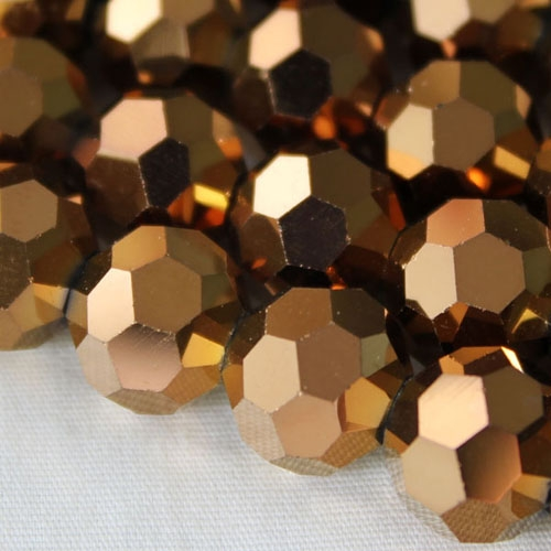 Chinese crystal 10mm round beads , copper, 20 Beads