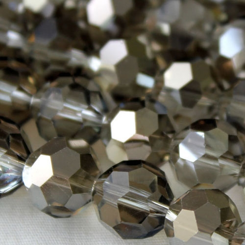 Chinese crystal 10mm round beads , Silver shade, 20 Beads