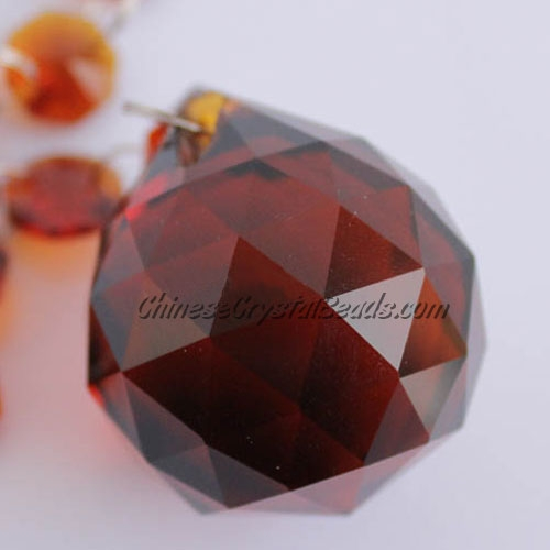 Crystal faceted ball pendants , 30mm, Brown