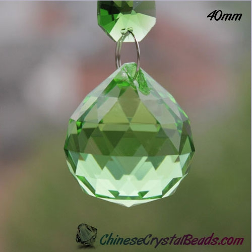 Crystal faceted ball pendant, 40mm, green