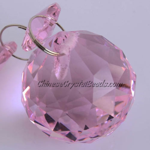 Crystal faceted ball pendants , 30mm, Pink