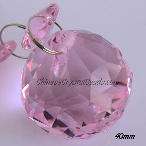 Crystal faceted ball pendants , 40mm, Pink