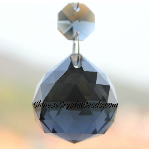 Crystal faceted ball pendants , 30mm, Black Diamond