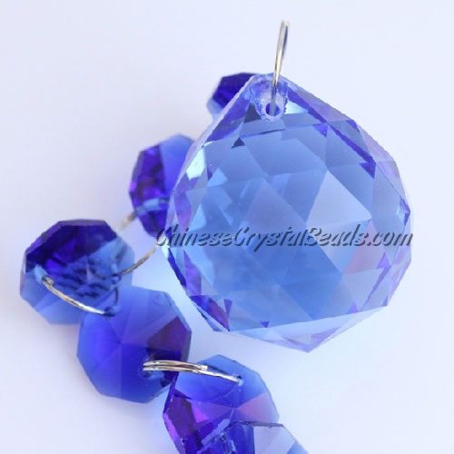 Crystal faceted ball pendants , 30mm, blue