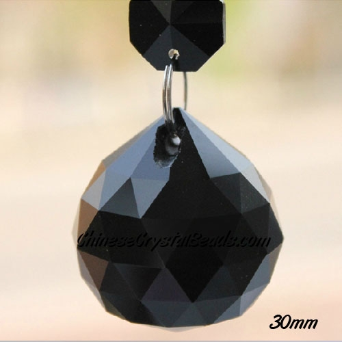 Crystal faceted ball pendant, 30mm, Jet