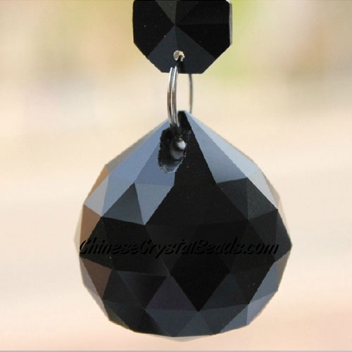 Crystal faceted ball pendants , 40mm, Jet