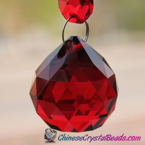 Crystal faceted ball pendants , 40mm, siam