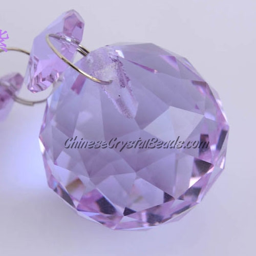 Crystal faceted ball pendants , 30mm, violet
