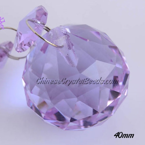 Crystal faceted ball pendants , 40mm, violet