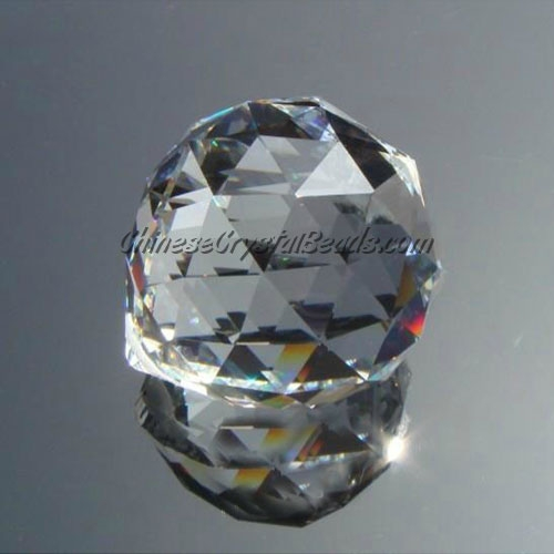 Crystal faceted ball pendants , 20mm, Clear