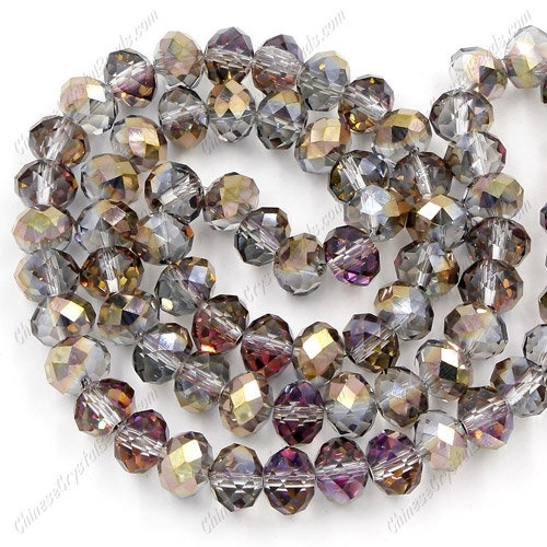 Chinese Crystal Rondelle Strand, 6x8mm, gold and purple light, about 72 beads