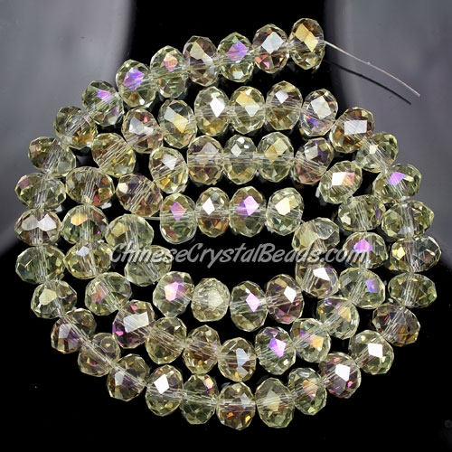 Chinese crystal rondelle beads strand, 6x8mm, yellow light ,about 72 beads