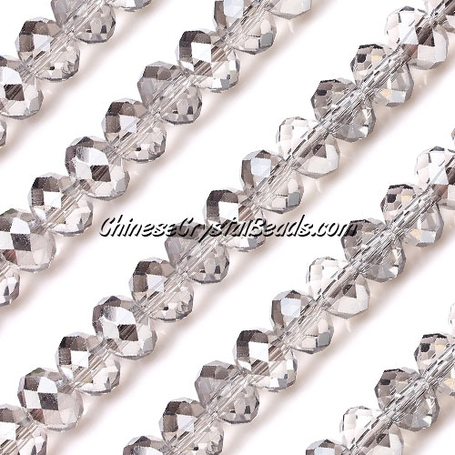 Chinese Crystal Rondelle Strand, silver shade, 6x8mm, about 72 beads