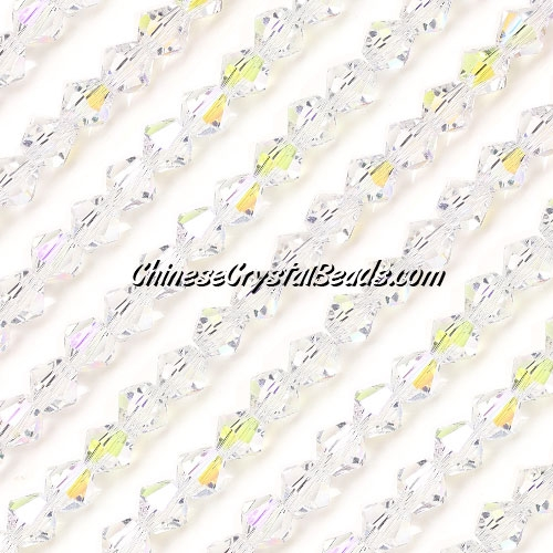 Chinese Crystal Bicone bead strand, 6mm, Clear AB, about 50 beads