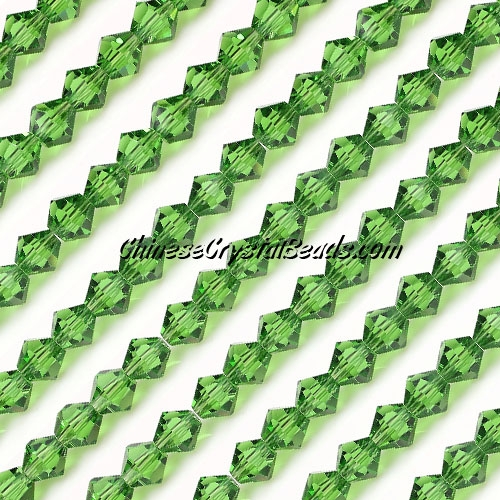 Chinese Crystal Bicone bead strand, 6mm, fern green, about 50 beads