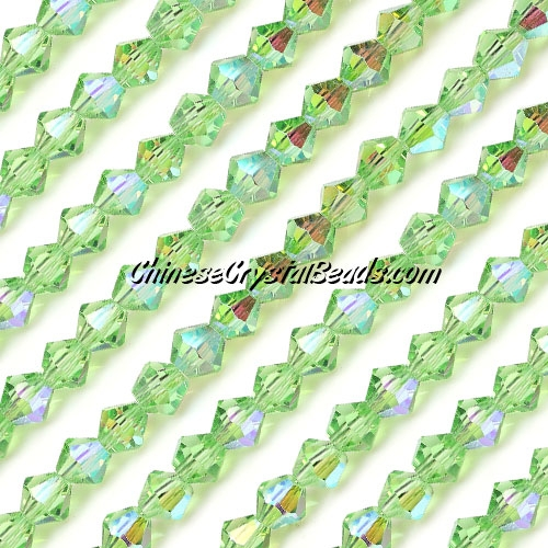 Chinese Crystal Bicone bead strand, 6mm, lime-green-AB, about 50 beads