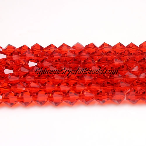 Chinese Crystal Bicone bead strand, 6mm, Lt. siam, about 50 beads