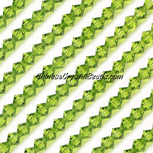 Chinese Crystal Bicone bead strand, 6mm, Olivine, about 50 beads