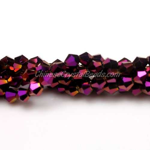 98pcs Chinese Crystal Bicone bead strand, 6mm, purple light