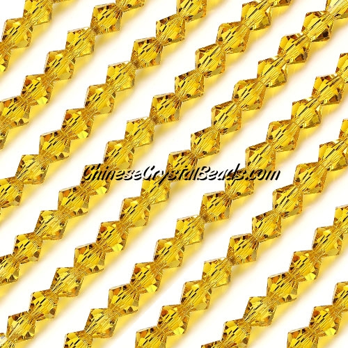 Chinese Crystal Bicone bead strand, 6mm, golden, about 50 beads