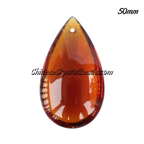 50x28mm Big Crystal beads Curtain drop Smooth surface pendant, coffee, hole: 1.5mm