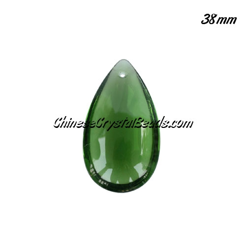 38x22mm Crystal beads Curtain drop Smooth surface pendant, Green, hole:1.5mm
