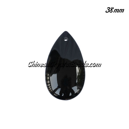 38x22mm Crystal beads Curtain drop Smooth surface pendant, black, hole: 1.5mm
