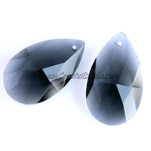 38x22mm Crystal beads Faceted Teardrop Pendant, Black Diamond, hole: 1.5mm