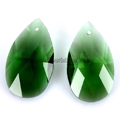 38x22mm Crystal beads Faceted Teardrop Pendant, green, hole: 1.5mm