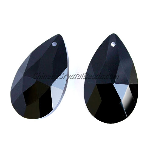 38x22mm Crystal beads Faceted Teardrop Pendant, Black, hole: 1.5mm