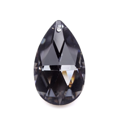 38x22mm Chinese Crystal Faceted Teardrop Pendant, Black Diamond, hole: 1.5mm