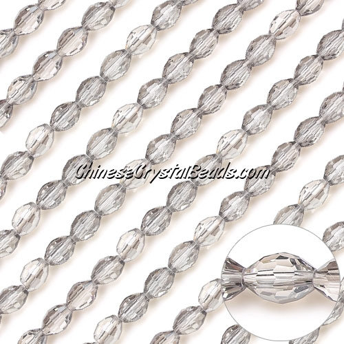 Chinese Barrel Shaped crystal beads,silver shade, 4X6MM, 72 Beads
