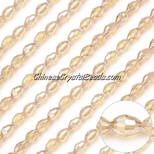 Chinese Barrel Shaped crystal beads,G.Champagne AB, 4X6MM, 50 Beads